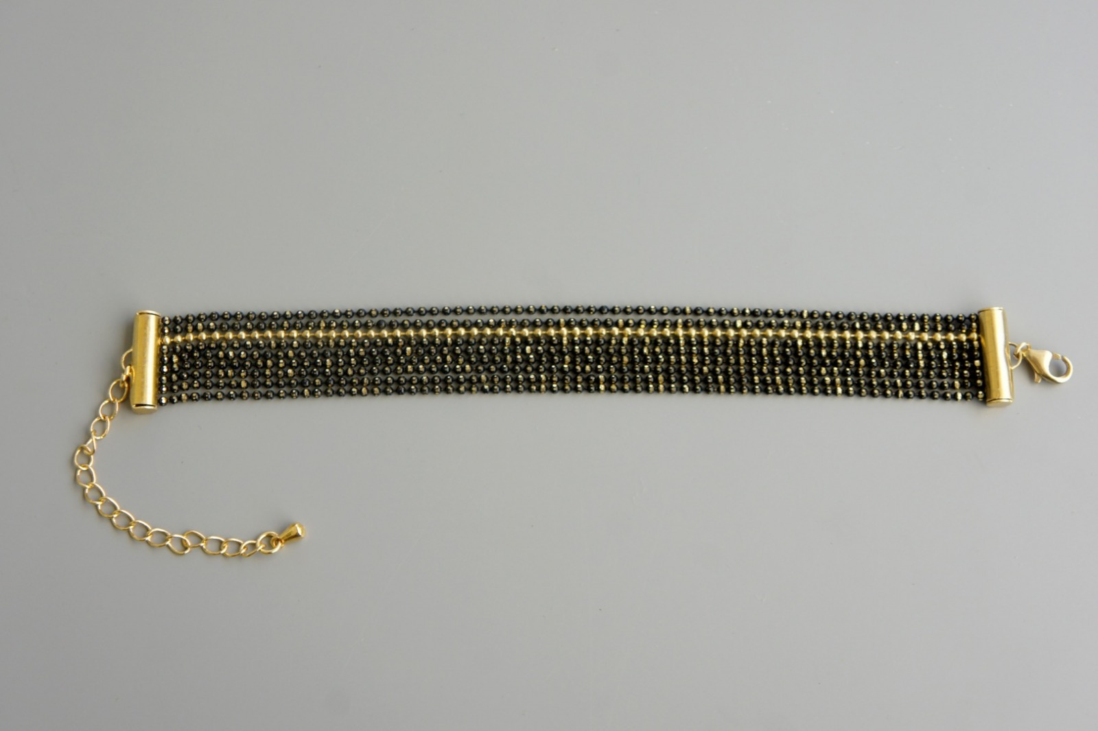 Mehrreihiges Armband Kugelkette Messing schwarz-gold 2