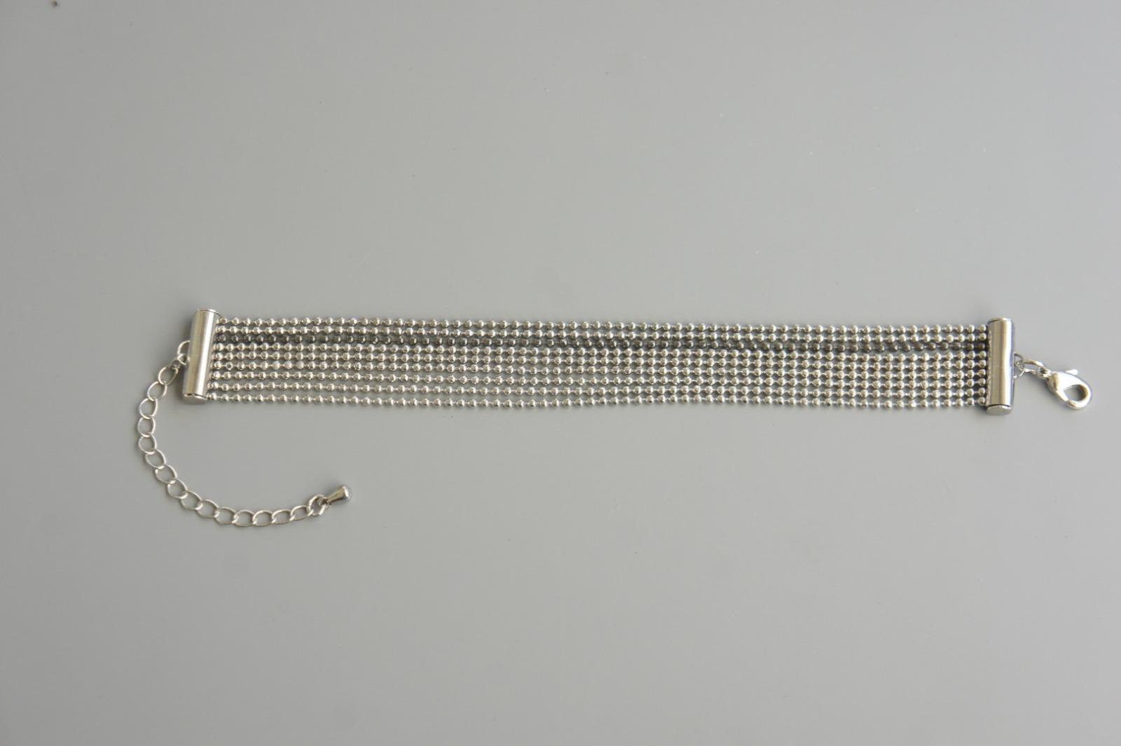 Mehrreihiges Armband Kugelkette Messing silber 2