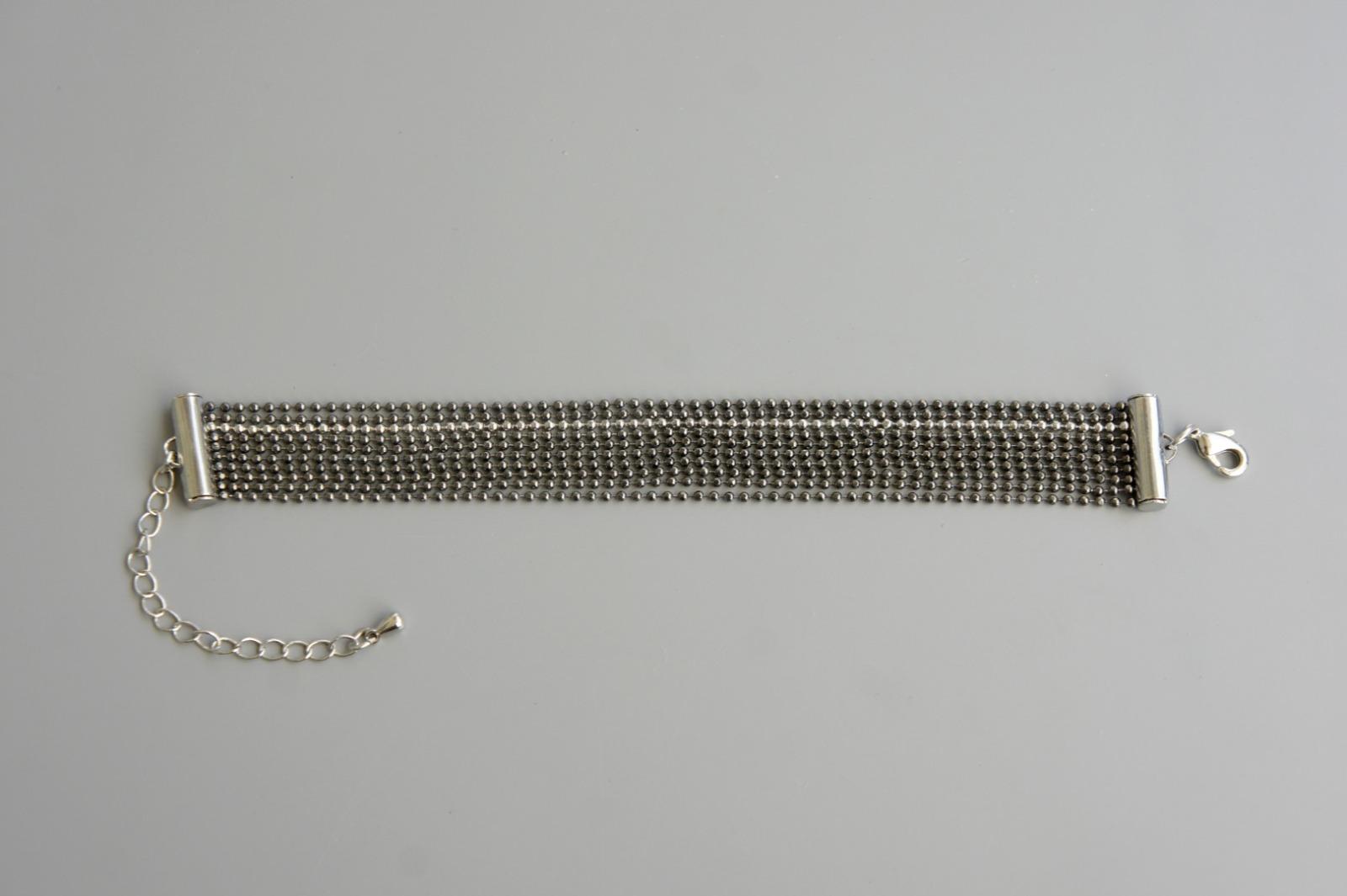 Mehrreihiges Armband Kugelkette Messing schwarz-silber 2