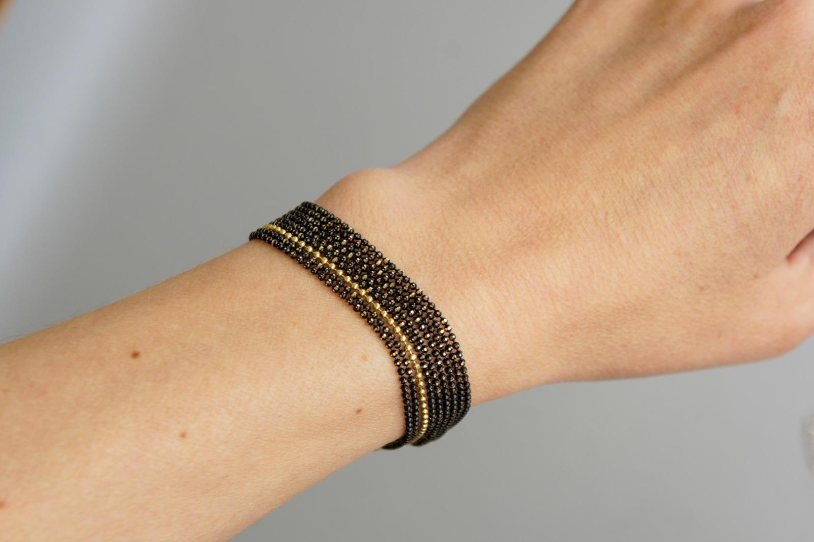 Mehrreihiges Armband Kugelkette Messing schwarz-gold 3