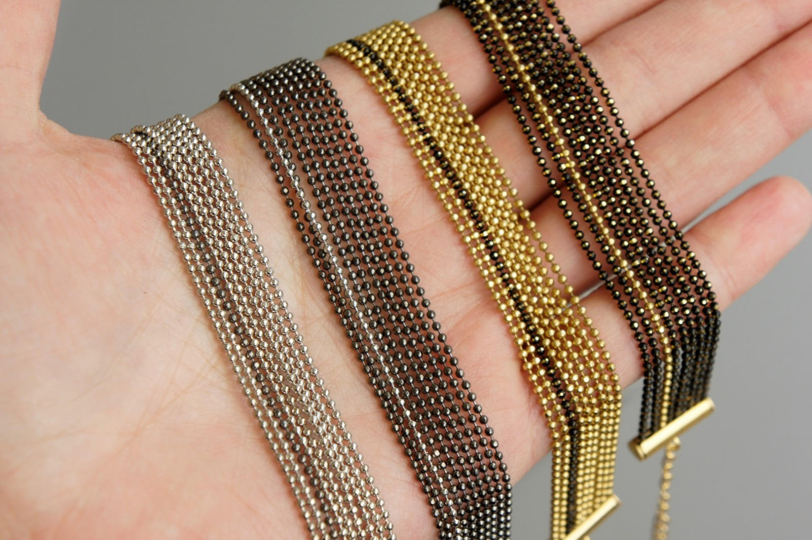 Mehrreihiges Armband Kugelkette Messing silber 5