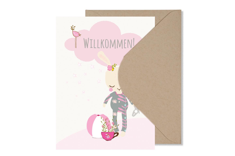Grusskarte WILLKOMMEN BABY GIRL mit Umschlag