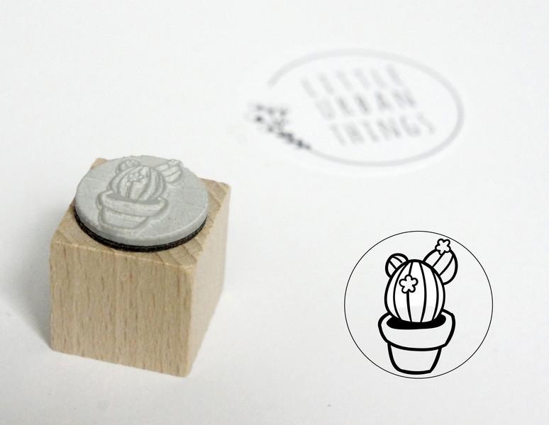 Stempel KAKTUS mit Blüten - 20x20mm - 1