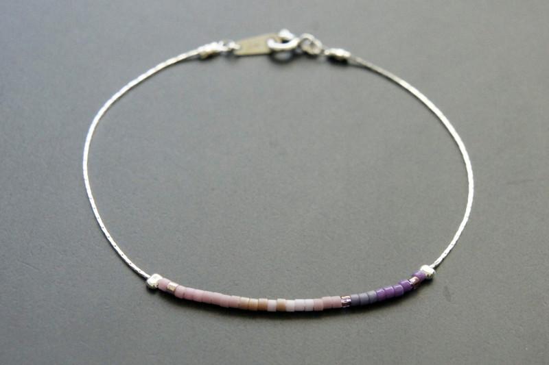 Filigranes Armband 925 Silber Verlauf lila-rosé