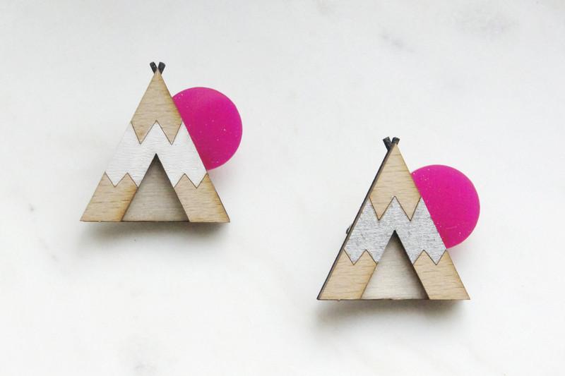 Brosche Tipi weiß Holz Acryl pink - 2
