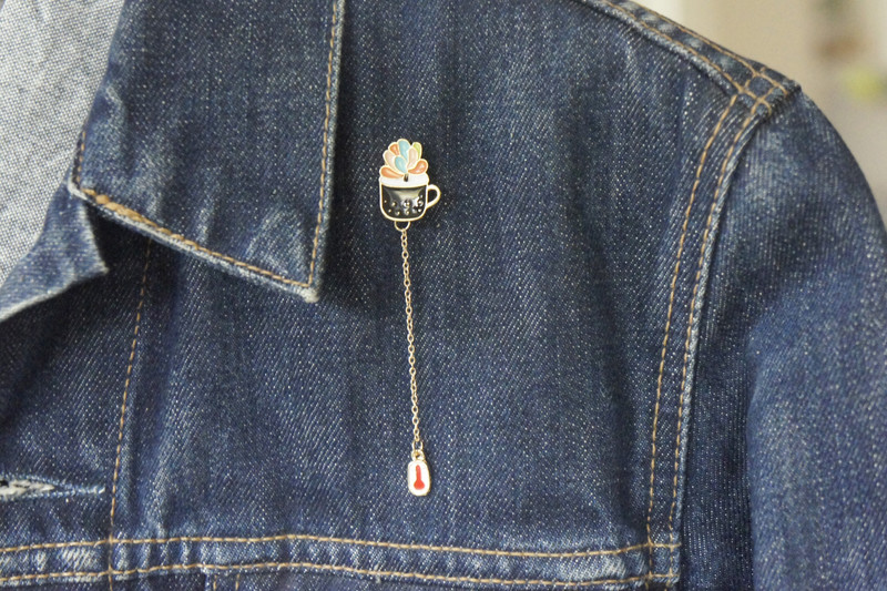 Brosche Pin Sukkulente mit Kette
