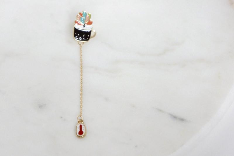 Brosche Pin Sukkulente mit Kette - 2
