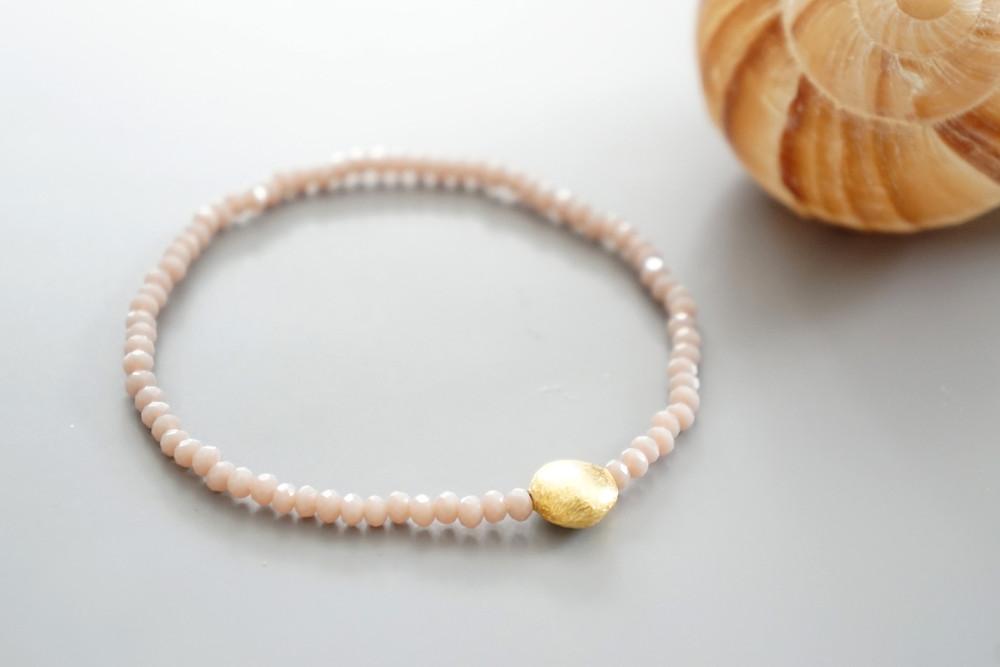 Armband facettierte Kristallperlen rosa gold/silbe 2