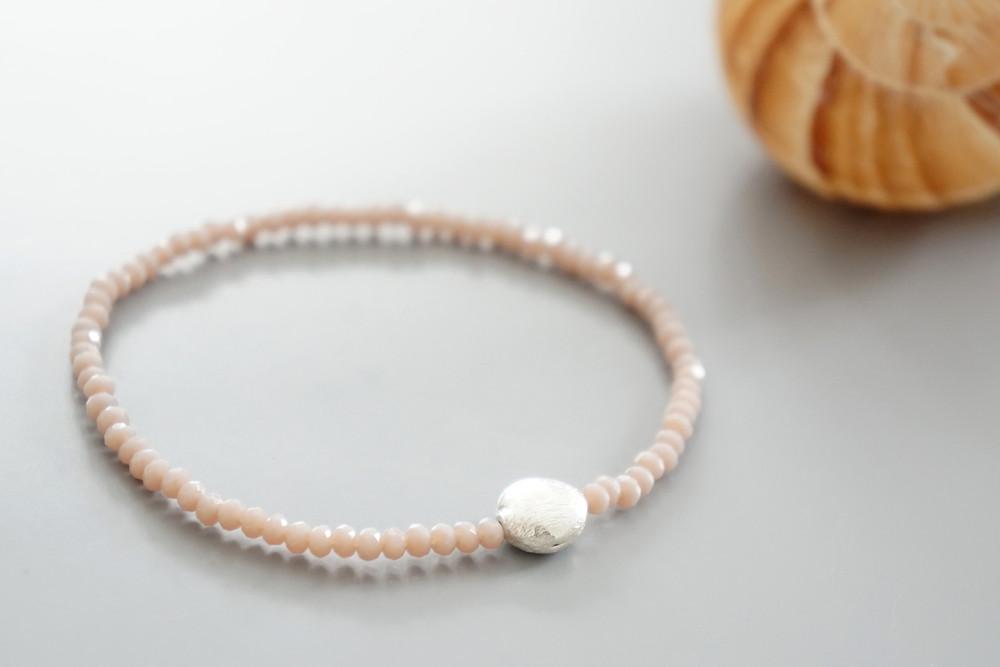 Armband facettierte Kristallperlen rosa gold/silbe 3