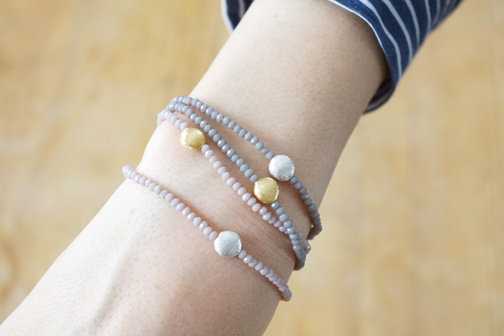 Armband facettierte Kristallperlen rosa gold/silbe 4