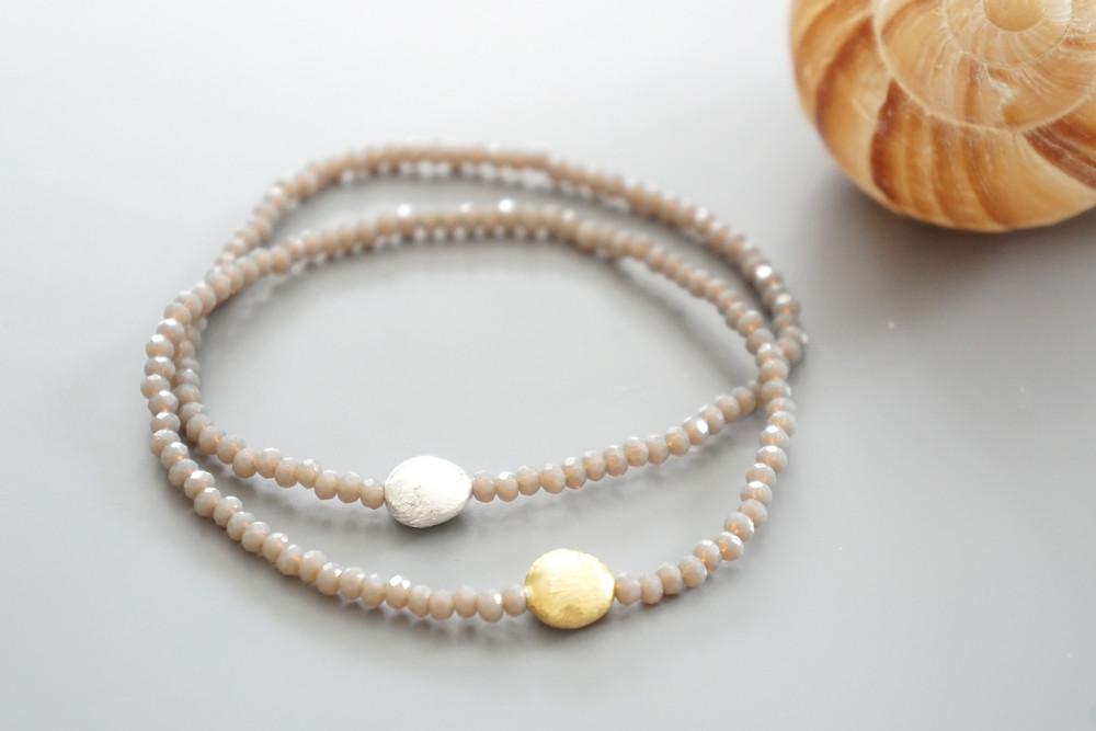 Armband Kristallperlen beige gold/silber