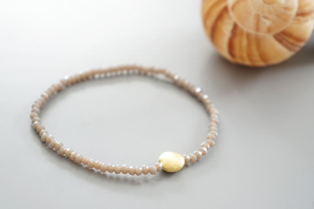 Armband Kristallperlen beige gold/silber 2