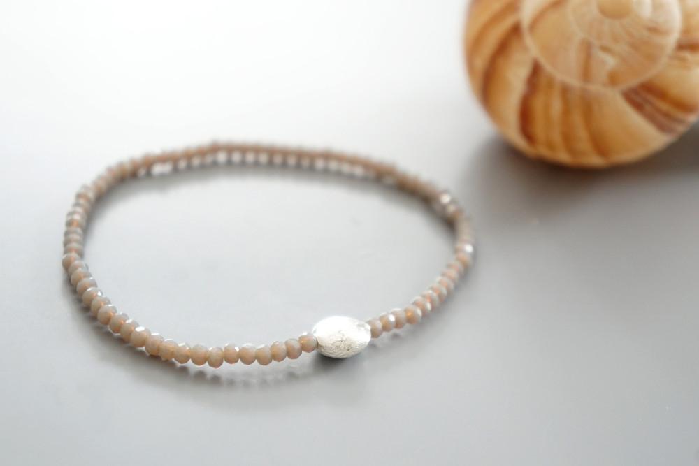 Armband Kristallperlen beige gold/silber 3