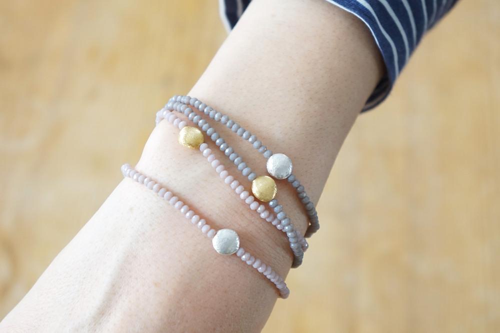 Armband Kristallperlen beige gold/silber 4