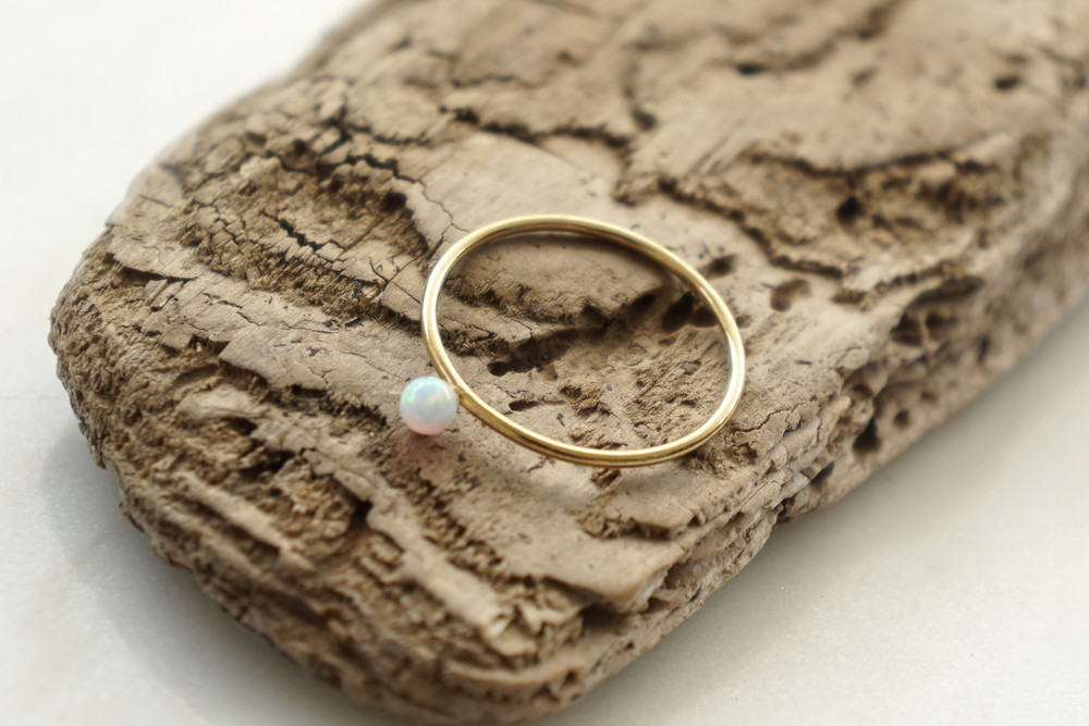 Zierlicher Ring Stapelring vergoldet Opal Perle - 1