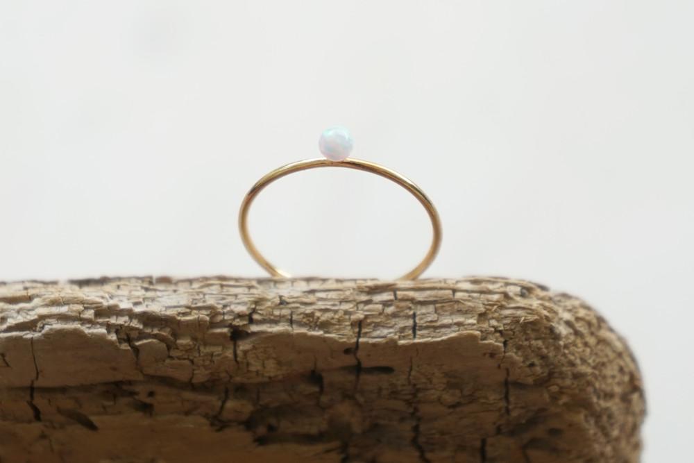 Zierlicher Ring Stapelring vergoldet Opal Perle - 2