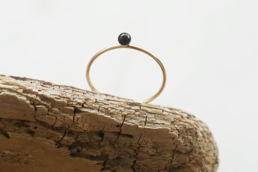 Zierlicher Ring Stapelring vergoldet Onyx Perle - 2