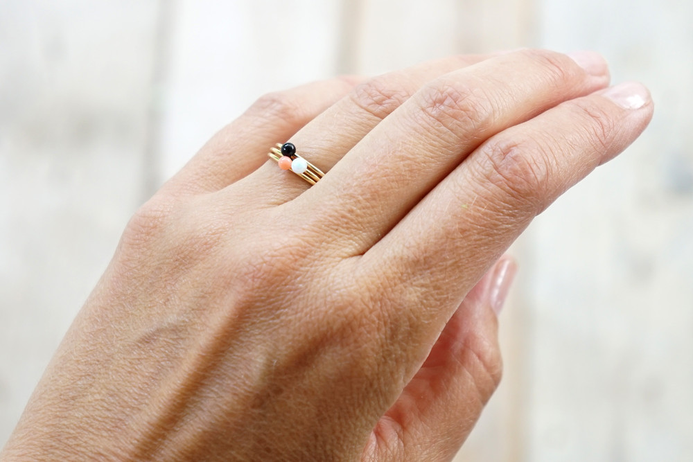 Zierlicher Ring Stapelring vergoldet Onyx Perle - 3