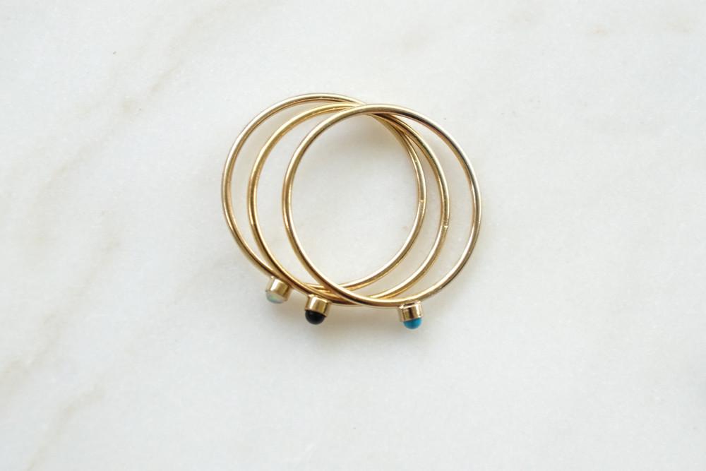 Zierlicher Ring Stapelring vergoldet Opal Fassung - 3