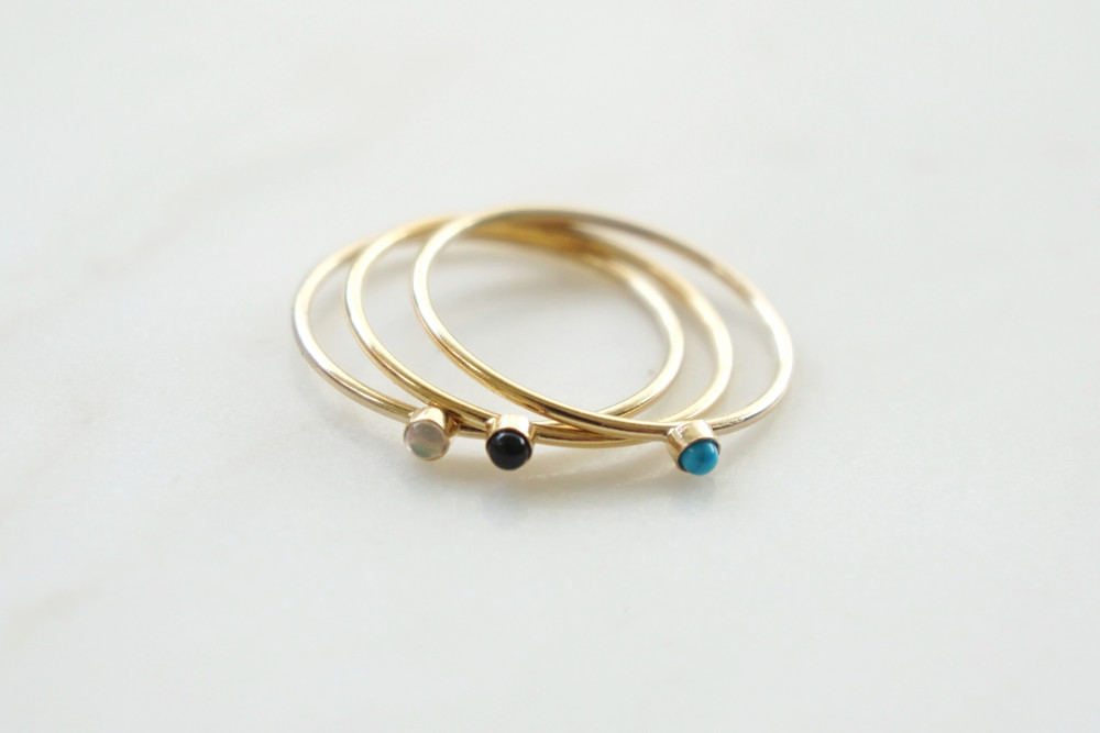 zarter Ring Stapelring vergoldet Onyx Fassung - 2