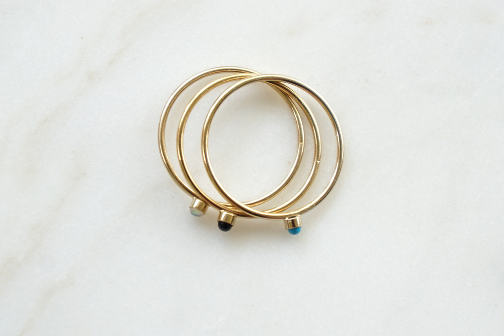 zarter Ring Stapelring vergoldet Onyx Fassung - 3
