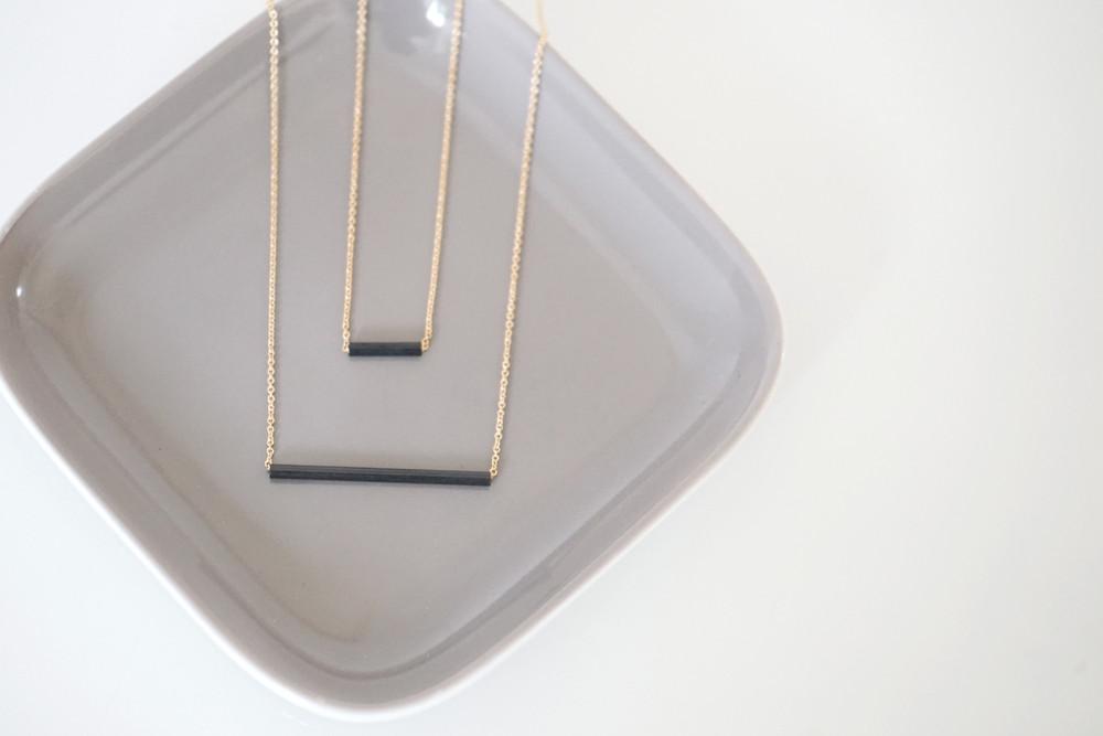Set Ankerkette vergoldet mit Röhrchen schwarz - 1