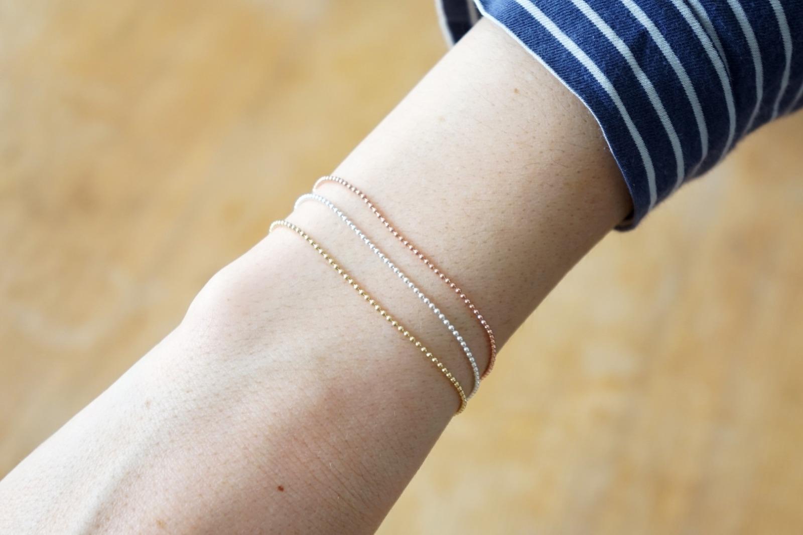 Feines Armband Kugelkette rosé vergoldet 4