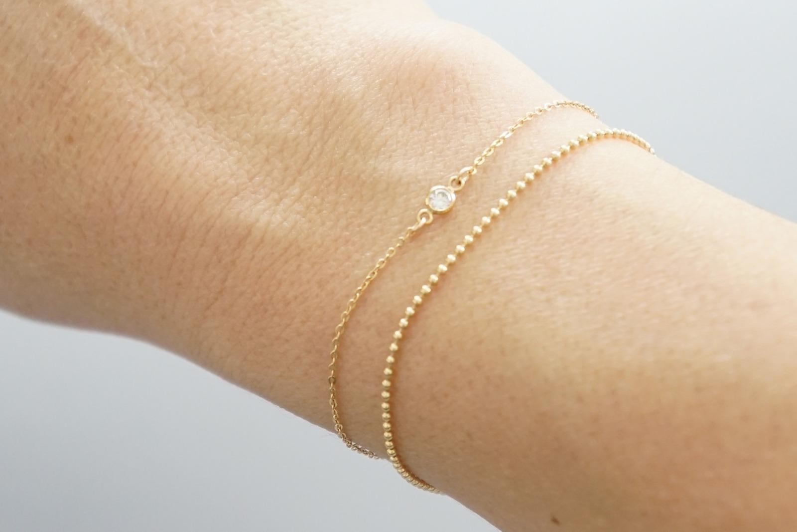 Feines Armband vergoldet mit Zirkonia Stein - 3