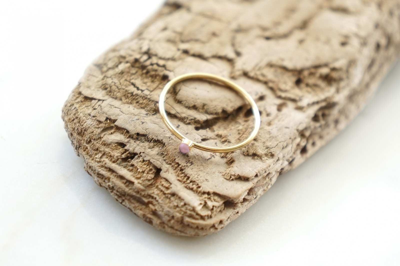 Zierlicher Ring Stapelring vergoldet Rosa Opal - 1