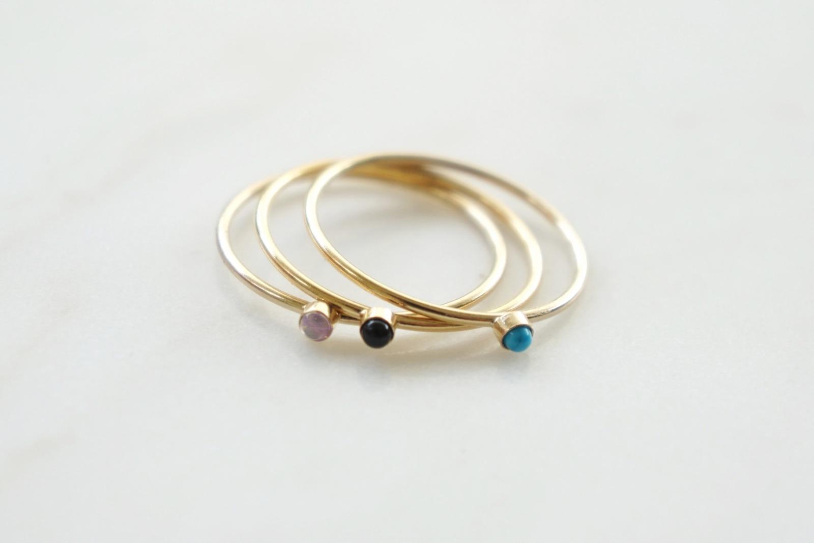 Zierlicher Ring Stapelring vergoldet Rosa Opal Fassung - 2
