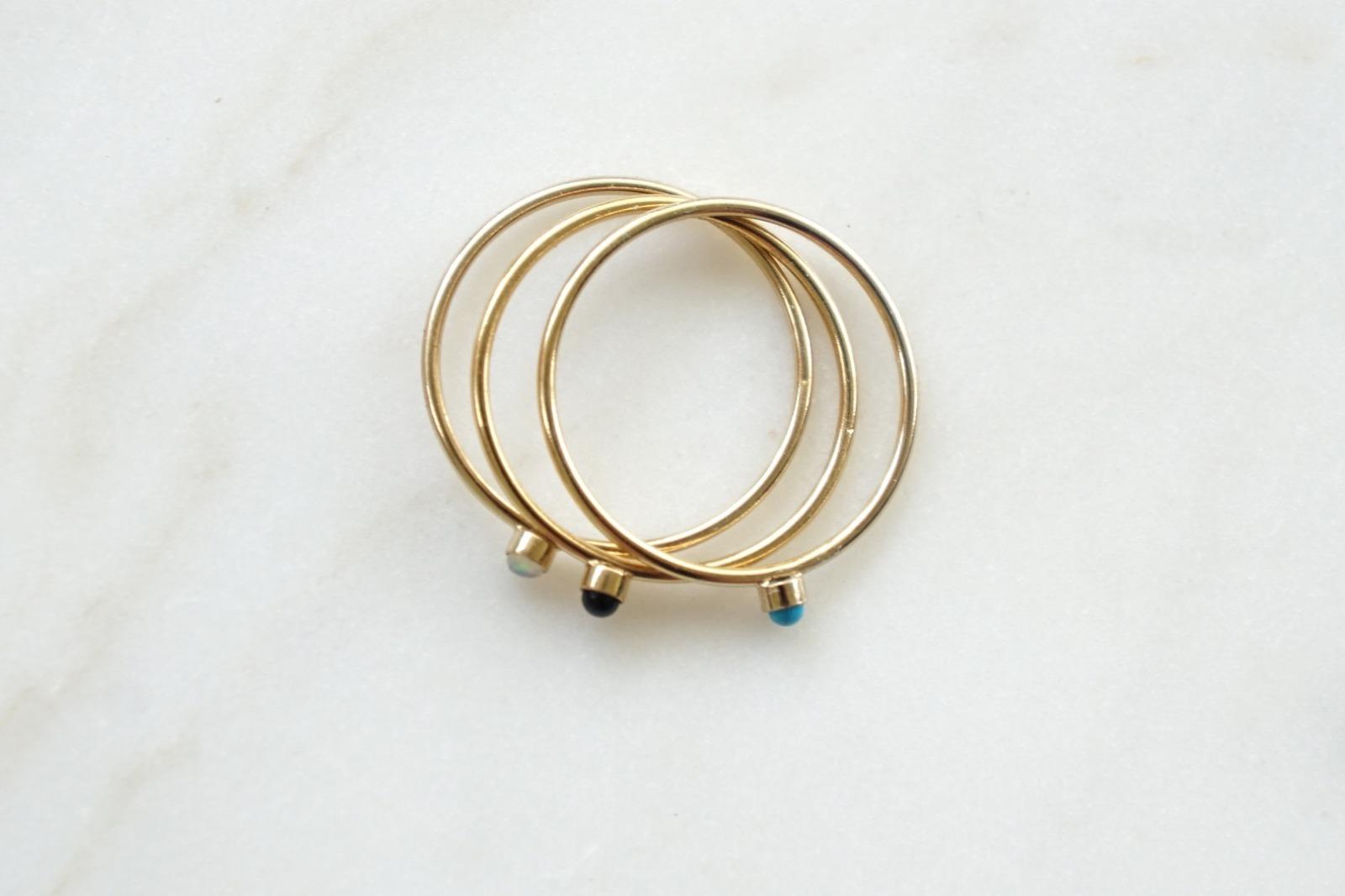 Zierlicher Ring Stapelring vergoldet Rosa Opal Fassung - 3