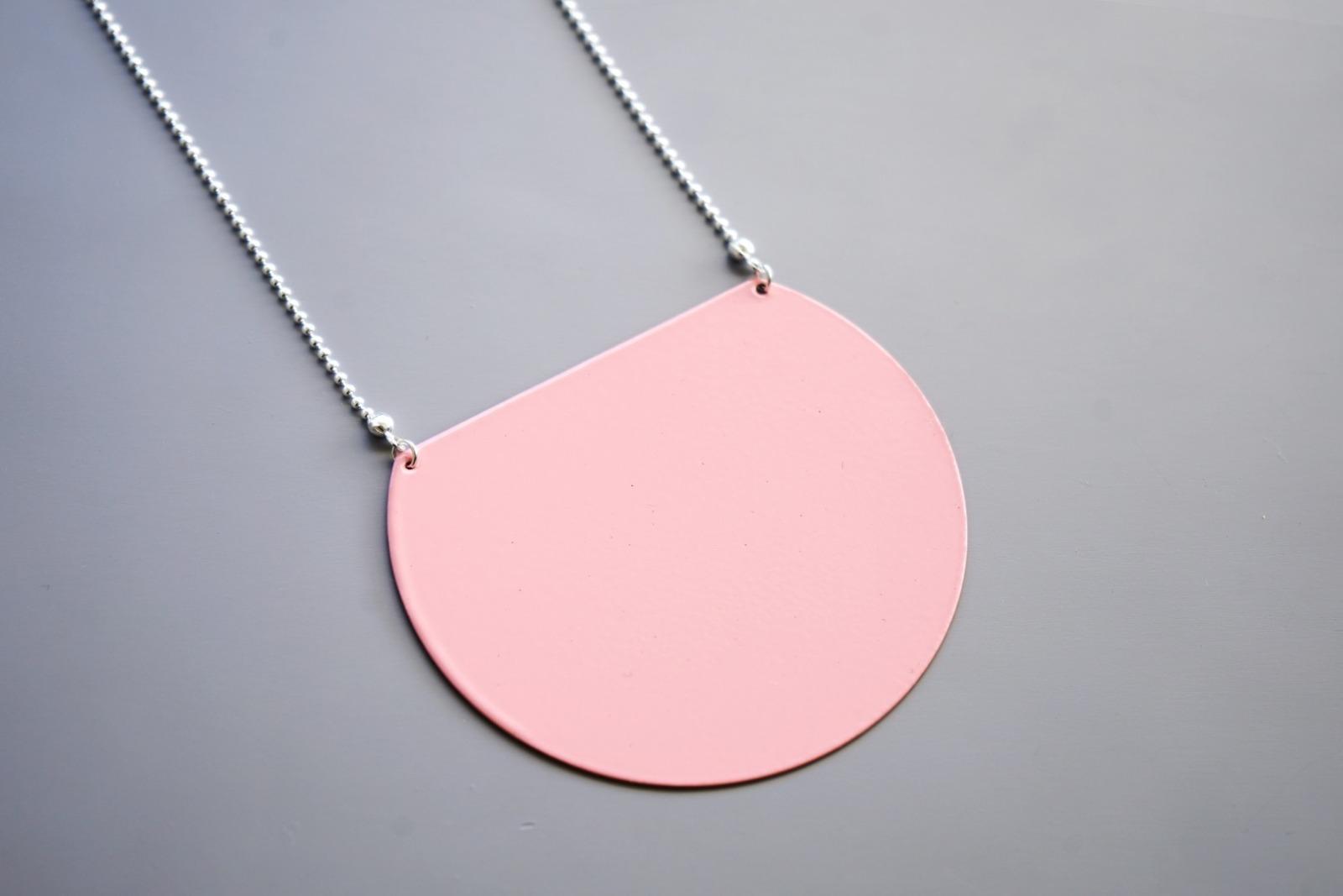 Statement Kette geometrisch rosa - 1