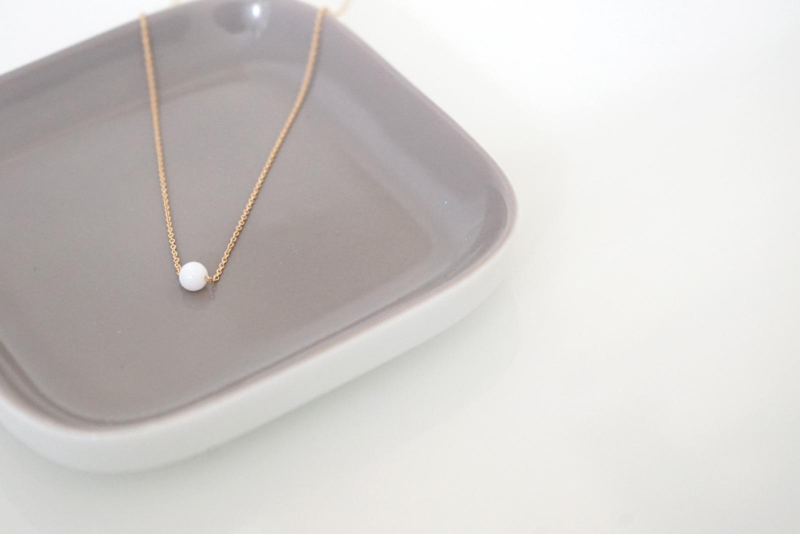 Feine Ankerkette Sterling Silber vergoldet Perle - 1