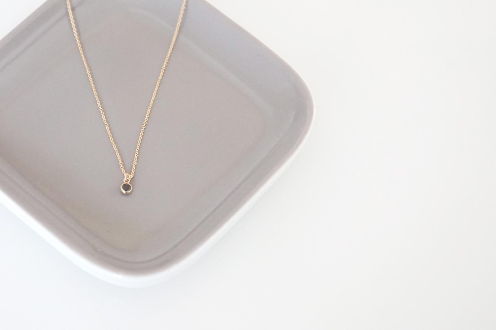 Feine Ankerkette vergoldet Kristall schwarz - 1