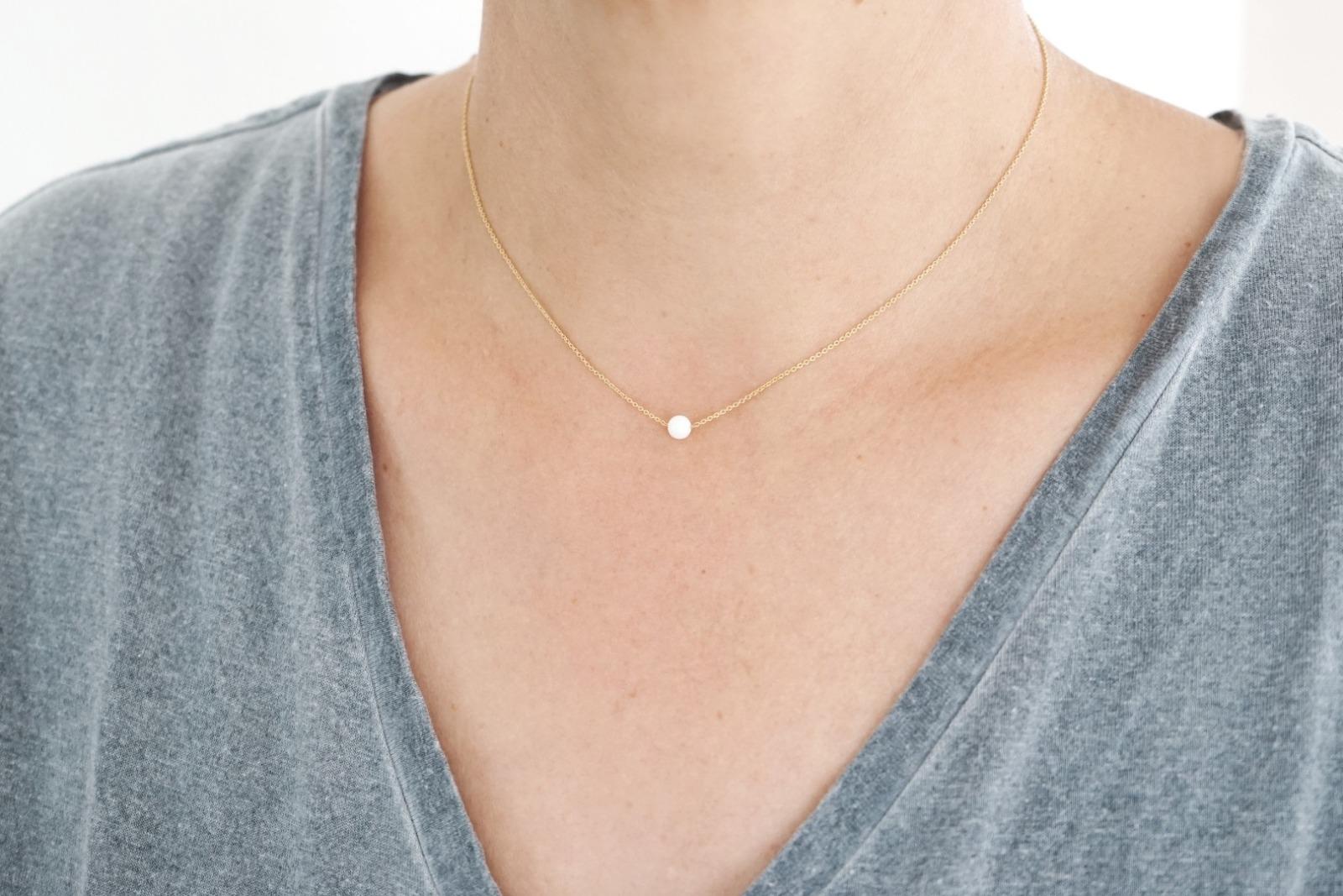 Feine Ankerkette Sterling Silber vergoldet Perle - 3