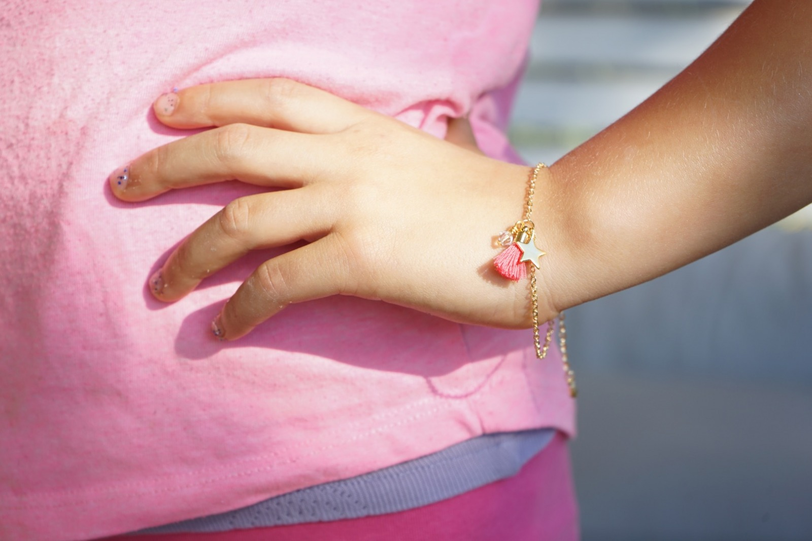 Set Kette Armband Gold mit Glitzeranhänger - 5