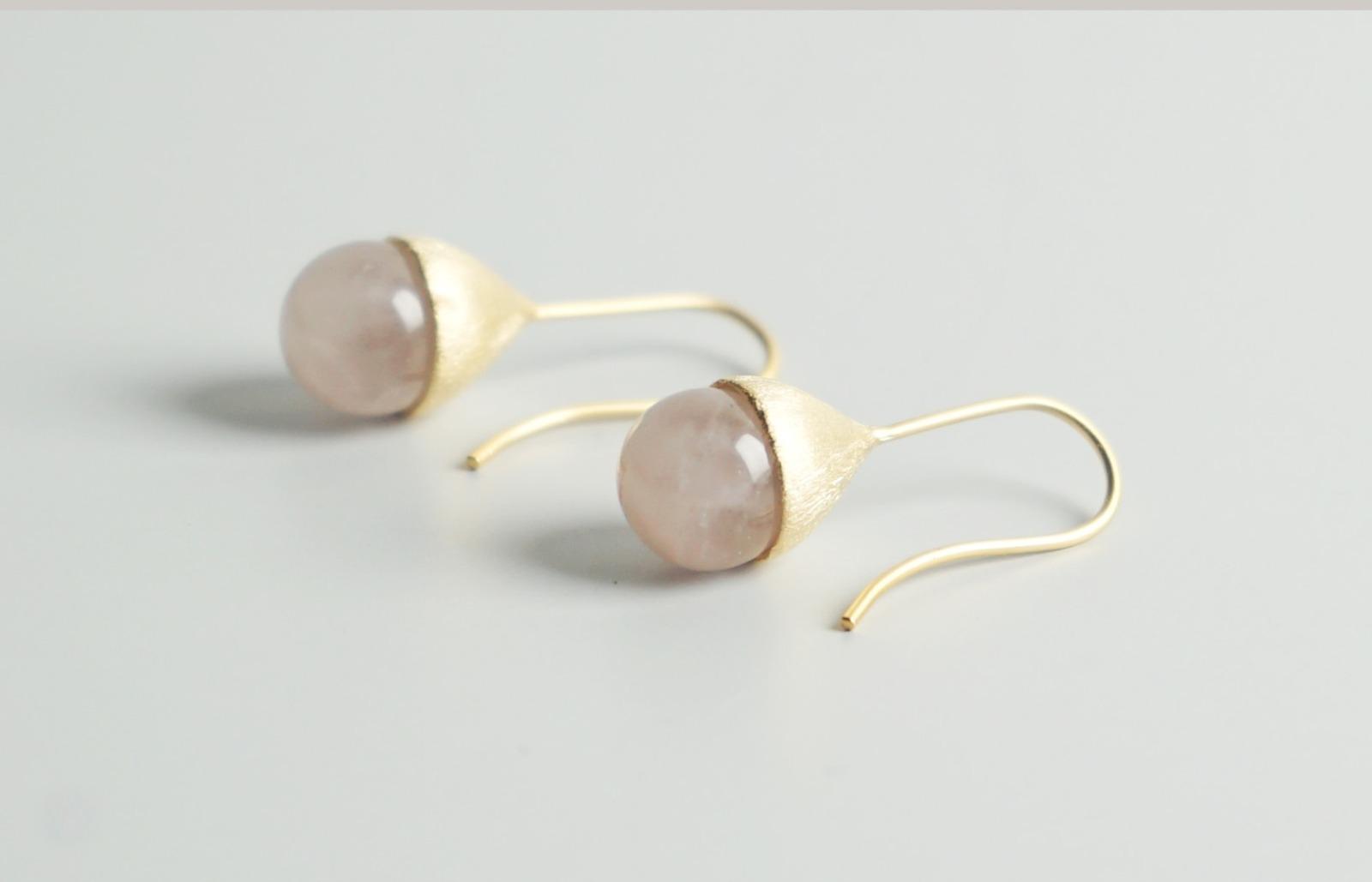 Ohrhänger Hütchen vergoldet mit Perle Rosenquarz - 2