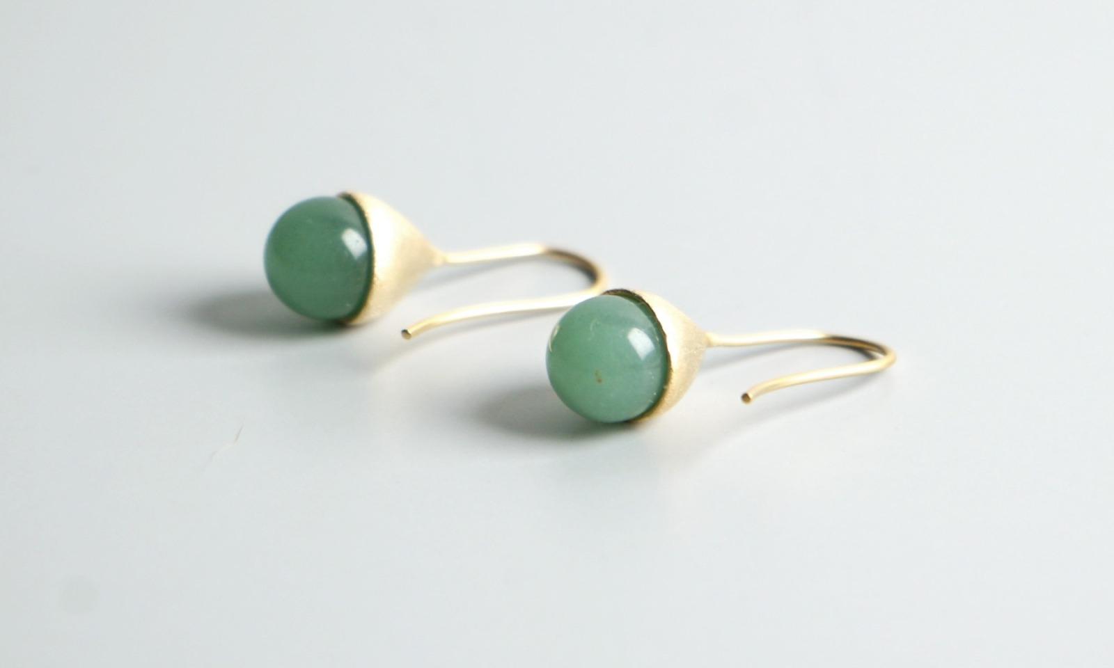 Ohrhänger Hütchen vergoldet mit Perle Aventurin grün - 2