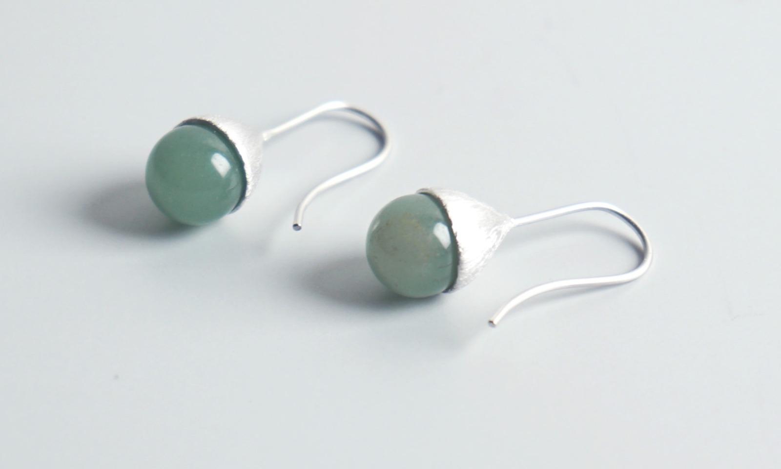 Ohrhänger Hütchen silber mit Perle Aventurin - 2