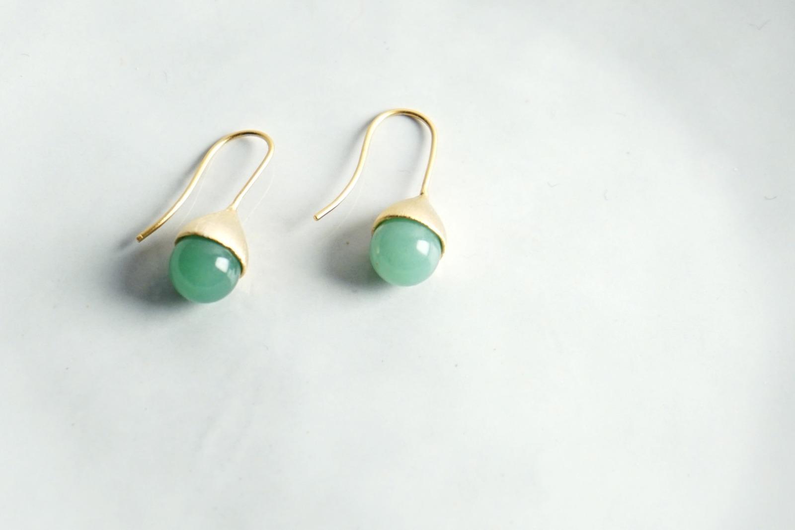 Ohrhänger Hütchen vergoldet mit Perle Aventurin grün - 1