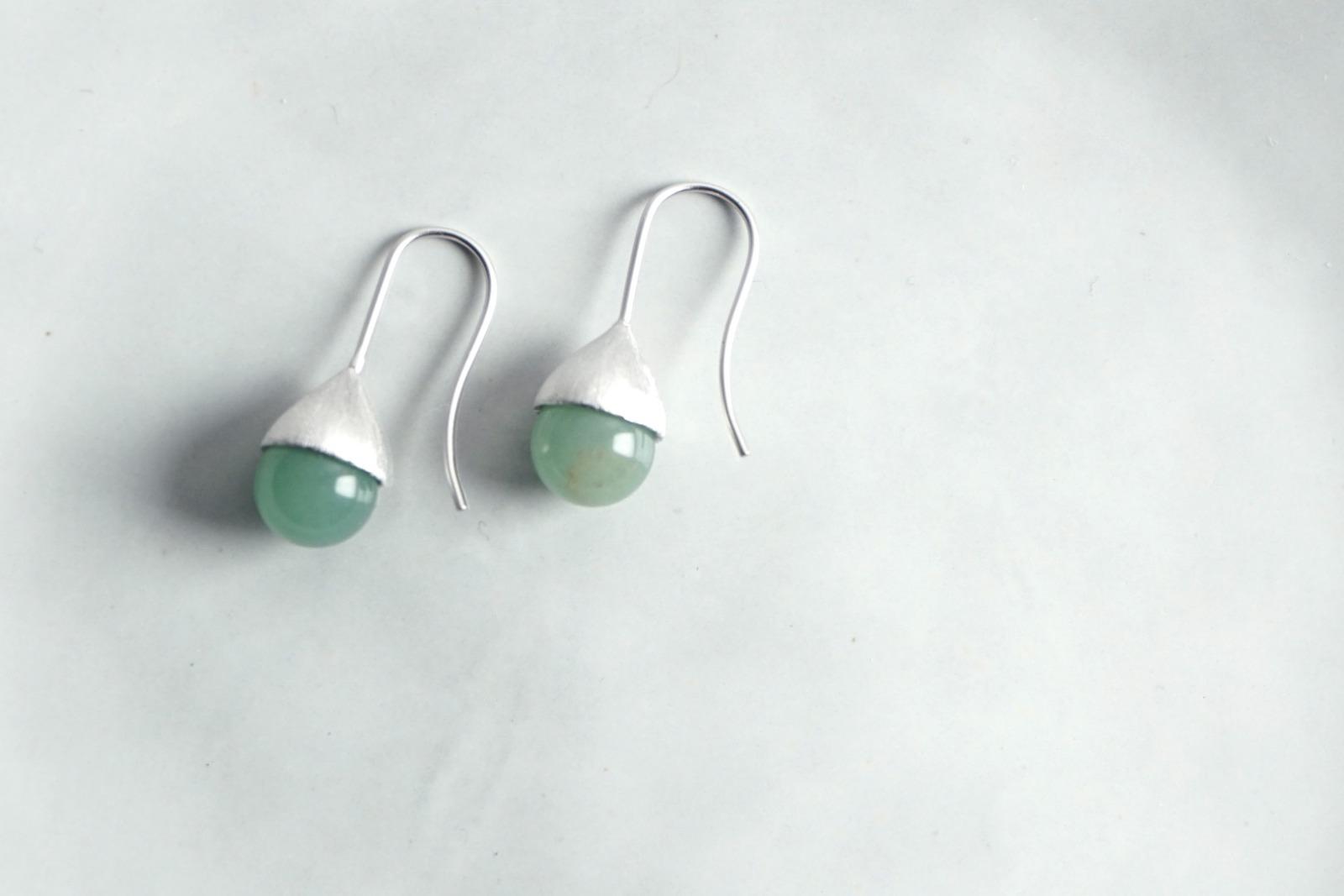 Ohrhänger Hütchen silber mit Perle Aventurin
