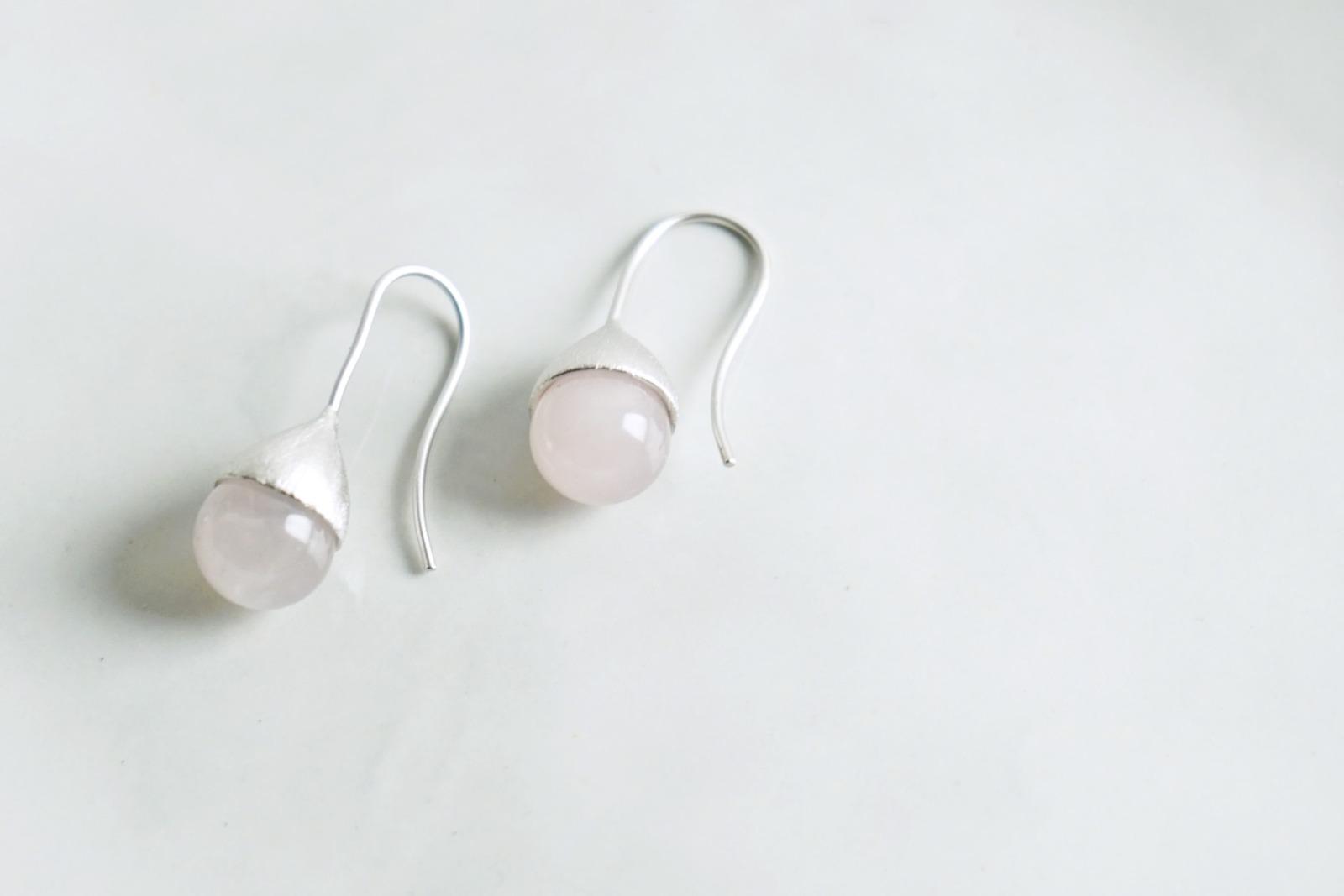 Ohrhänger Hütchen silber mit Perle Rosenquarz - 1