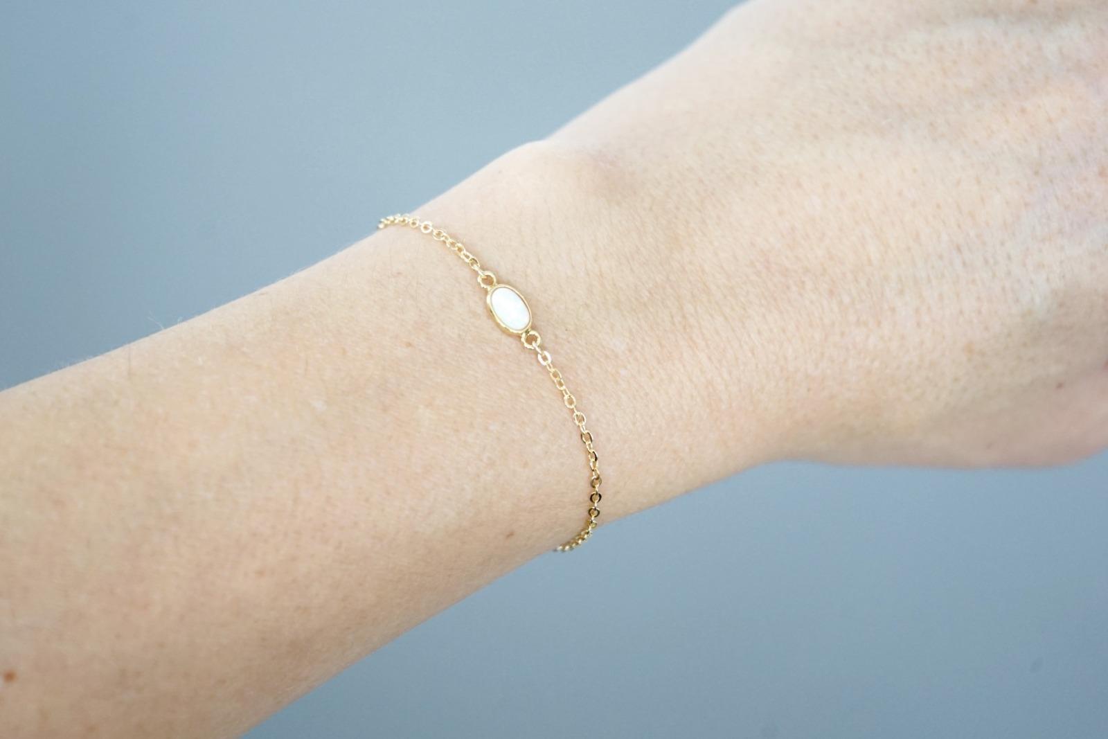 Filigranes Armband vergoldet mit Opal - 3