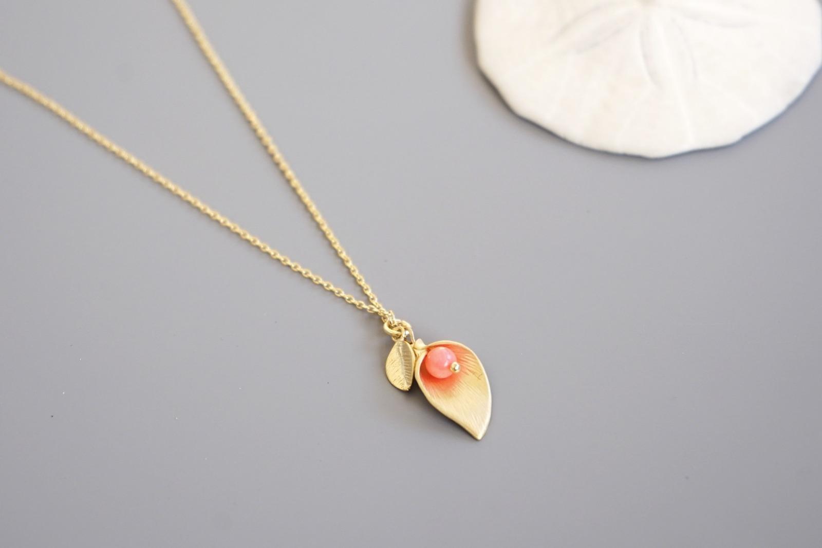 Kette mit Blütenanhänger Calla - rosa - 1