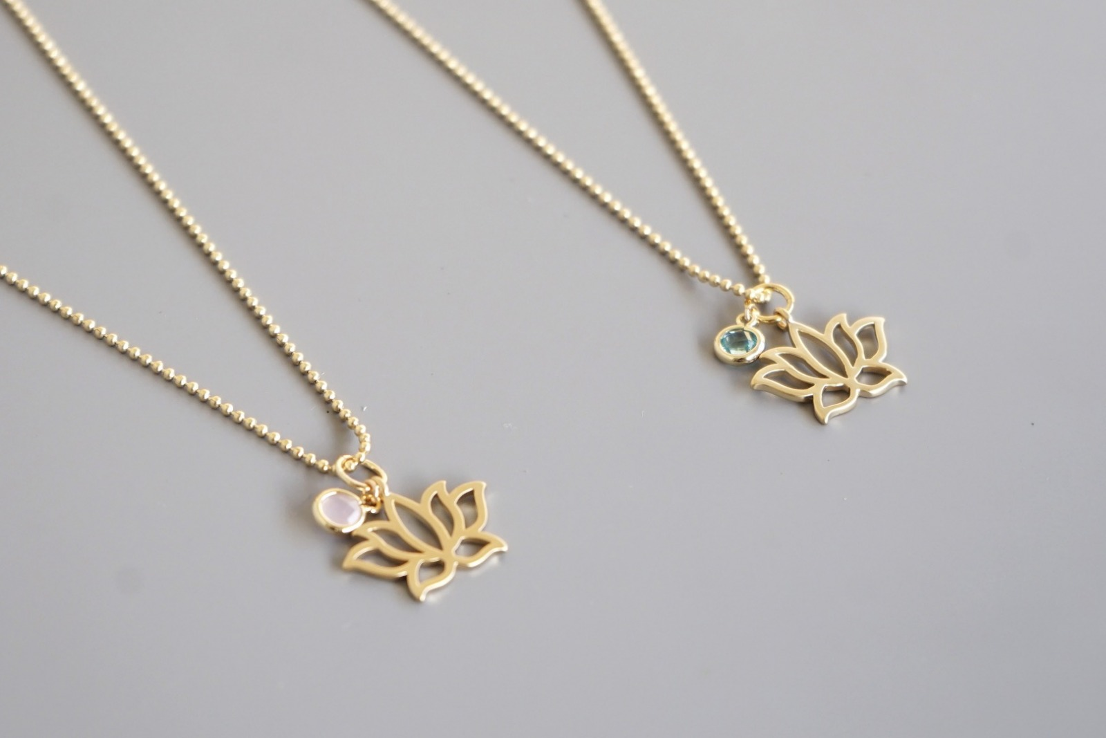 Kugelkette mit Lotusblüte und Kristall - rosa - 3