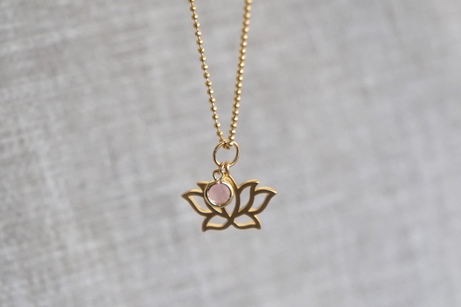 Kugelkette mit Lotusblüte und Kristall rosa