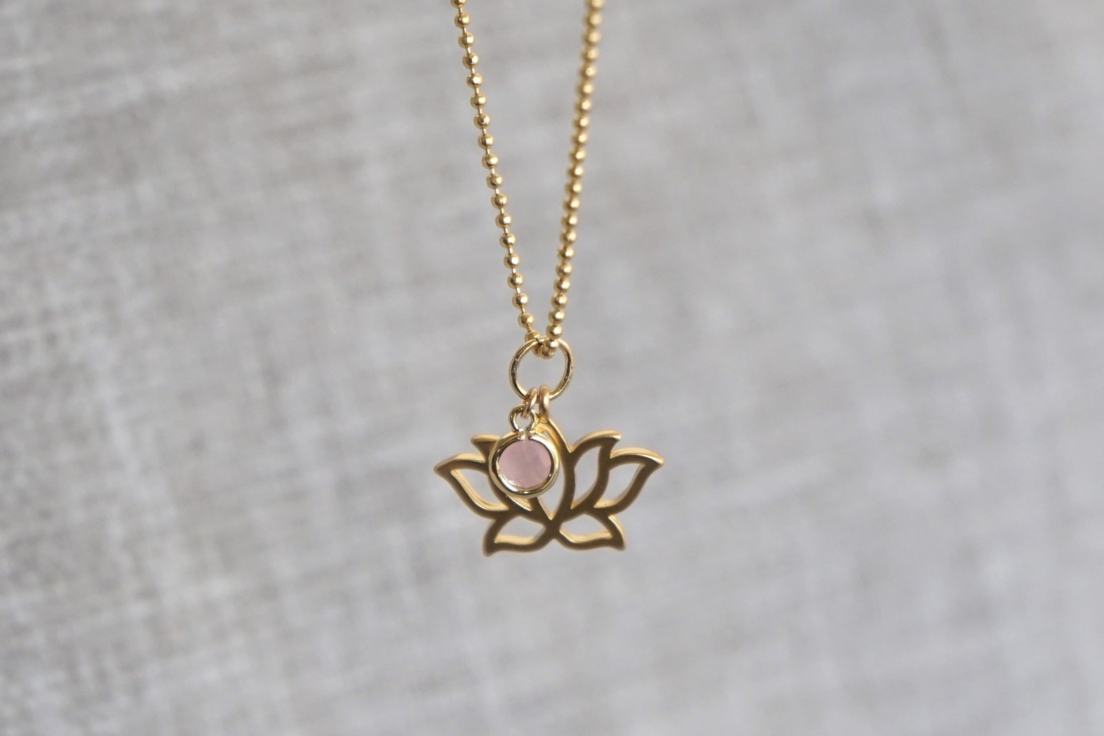 Kugelkette mit Lotusblüte und Kristall - rosa - 2