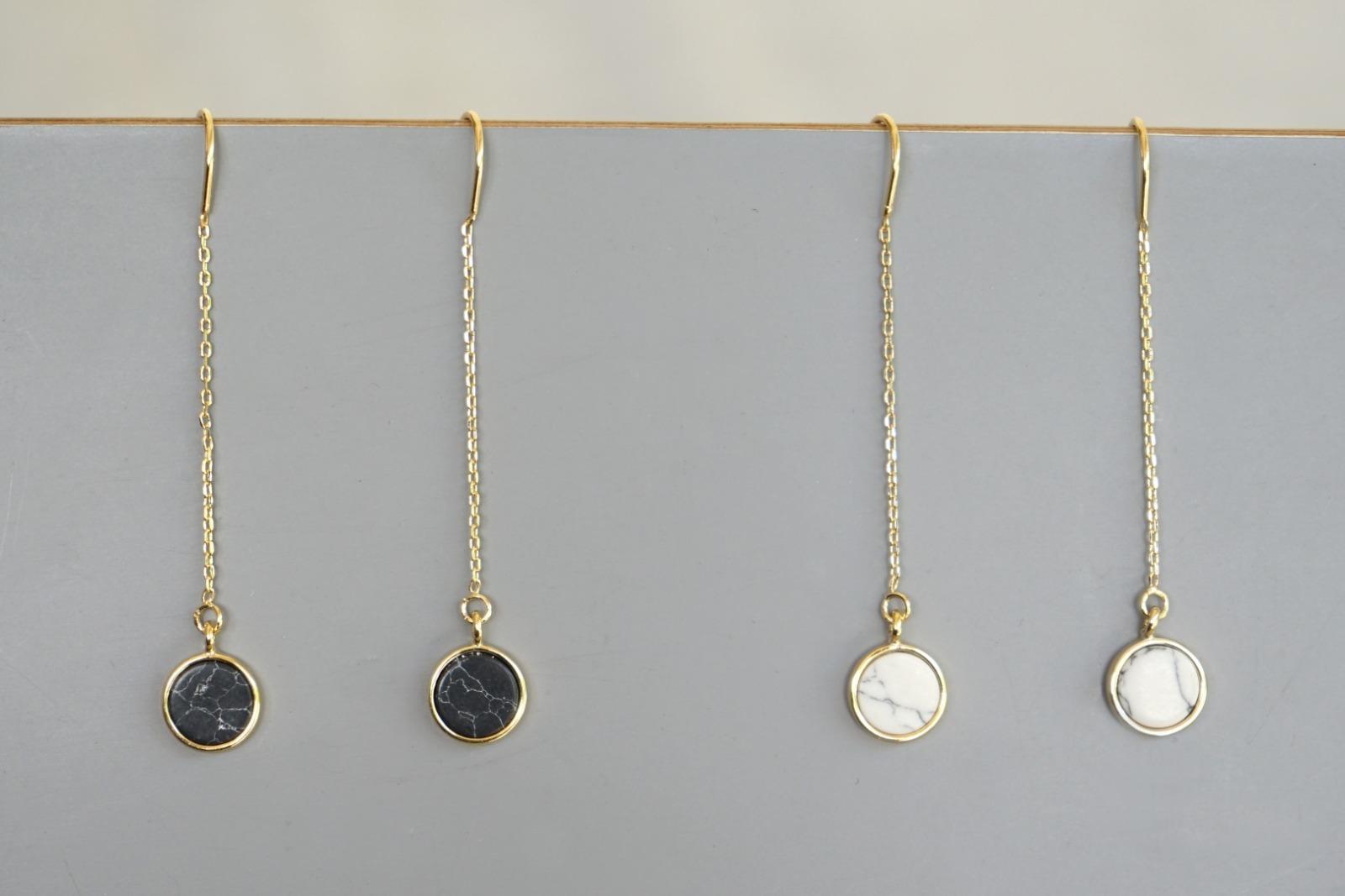 Lange Ohrhänger Kettchen Marmorlook Howlith, schwarz - 2