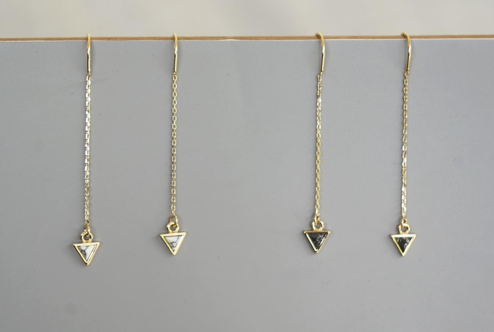 Lange Ohrhänger Kettchen Marmorlook Dreieck Howlith, schwarz - 3