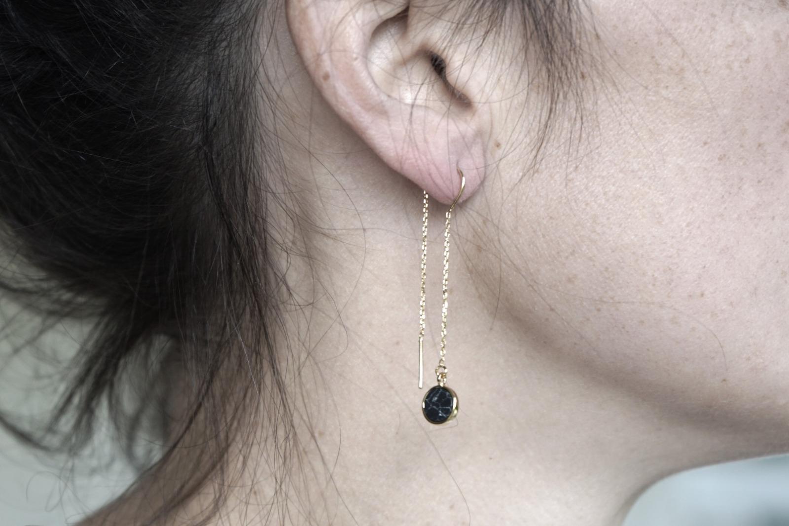 Lange Ohrhänger Kettchen Marmorlook Howlith, schwarz - 3
